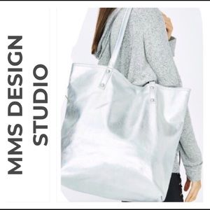 Handbags - Large Silver hologram vegan reversible tote
